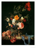 Still Life with Poppies and Roses Giclée-Druck von Willem Van Aelst