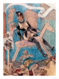 Woman on a Rocking Horse Giclee Print by Felicien Rops