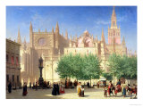 The Cathedral of Seville Giclee Print by Achille Zo