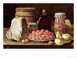 Still Life with Fruit and Cheese Giclee Print by Luis Menendez Or Melendez