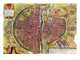 "Paris Map from ""Civitates Orbis Terrarrum"" by Georg Braun and Franz Hogenbergh, French, 1572-1617 Giclee Print by Georg Braun"