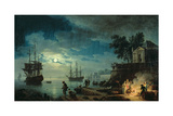 Night: a Port in the Moonlight, 1748 Giclée-Druck von Claude Joseph Vernet