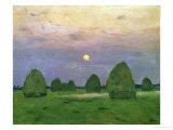 Hayricks at Dusk, 1899 Giclee Print by Isaak Ilyich Levitan