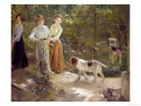 View of the Artist's Garden with His Daughters, 1903 Giclee Print by Fritz von Uhde
