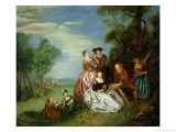 Conversation in a Park Giclee Print by Jean-Baptiste Joseph Pater