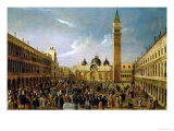 The Last Day of the Carnival, St. Mark's Square, Venice Giclee Print by Gabriele Bella