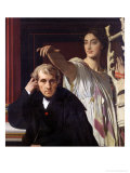 Portrait of the Italian Composer Cherubini and the Muse of Lyrical Poetry, 1842 Giclee Print by Jean-Auguste-Dominique Ingres