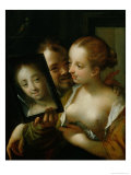 Laughing Couple with a Mirror, 1596 Reproduction procédé giclée par Hans von Aachen