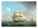 "H.M. Frigate ""Galatea"", 38 Guns off the Needles, Isle of Wight Giclee Print by Thomas Whitcombe"