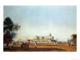 Lall Bazaar and the Portuguese Chapel, Calcutta, Pub. 1824 Giclee Print by James Baillie Fraser