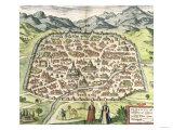 Town Map of Damascus, Syria, 1620 Giclee Print