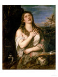 Mary Magdalene in Penitence, 1560s Giclée-tryk af Titian (Tiziano Vecelli)