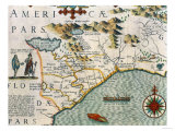 "Coast of North Carolina, Detail of the Map Titled ""Virginiae Item et Floridae"", Pub. 1619 Giclee Print"