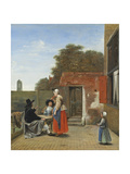 Two Soldiers and a Woman Drinking in a Courtyard Giclee Print by Pieter de Hooch