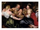Lot and His Daughters Giclee Print by Peter Paul Rubens