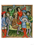 Seated Crowned Figure Surrounded by Musicians Playing the Lute, Bagpipes Giclee Print