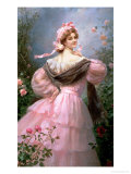 Elegant Woman in a Rose Garden Giclee Print by Felix Hippolyte-lucas
