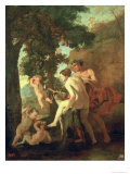 Venus, Faun and Putti, Early 1630s Lmina gicle por Nicolas Poussin