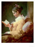 Young Girl Reading Giclée-Premiumdruck von Jean-Honoré Fragonard
