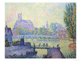 View of the Bridge of Auxerre, 1902 Gicléetryck av Paul Signac