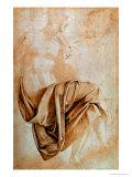 Recto Study of Drapery Giclée-tryk af Michelangelo Buonarroti,