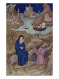 Hours of Notre Dame: Vespers, the Flight into Egypt, French, by Jacquemart de Hesdin Giclee Print