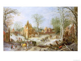 A Wooded Winter Landscape with a Cart Giclee Print by Jan Brueghel the Elder