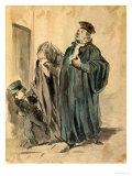 Judge, Woman and Child Reproduction giclée Premium par Honore Daumier