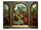 Triptych of the Cleansing of Naaman: the Centre Panel Depicts Naaman Giclee Print by Cornelis Engelbrechtsen