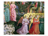 Angels in a Heavenly Landscape, the Left Hand Wall of the Apse Giclée-tryk af Benozzo di Lese di Sandro Gozzoli
