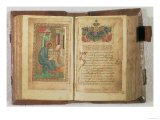 Scribe Writing out the Gospel; Page of Text Decorated with an Illumination Giclee Print