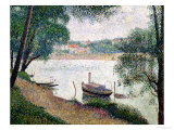 River Landscape with a Boat Giclee Print by Georges Seurat