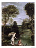 Landscape with Tobias Laying Hold of the Fish, circa 1615 Giclée-tryk af  Domenichino