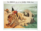 The Lion Cannot Face the Corwing of the Cock, the American View of the Channel Tunnel Scare Lámina giclée por Friedrich Graetz