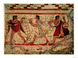 Etruscan Musicians, Copy of a 5th Century BC Fresco in the Tomb of the Leopard at Tarquinia Premium Giclee Print