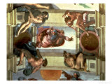 Sistine Chapel Ceiling: God Separating the Land from the Sea, with Four Ignudi, 1510 Giclee Print by  Michelangelo Buonarroti
