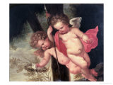 Two Flying Cherubs, Holding the Crown of Thorns and the Spear of Longinus Giclee Print by Giovanni Andrea Podesta