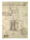 Sketch of a Horse and Various Other Diagrams Reproduction procédé giclée par Leonardo da Vinci