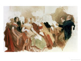 Study for an Evening at Baron Von Spaun's: Schubert at the Piano Among His Friends Giclee Print by Moritz Ludwig von Schwind