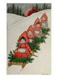 Four Little Girls on a Sledge Giclee Print by Florence Hardy