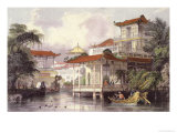 Home of a Chinese Merchant Near Canton Giclee Print by Thomas Allom