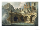 "Inside of Queen's Bath, from ""Bath Illustrated by a Series of Views"" Giclee Print by John Claude Nattes"