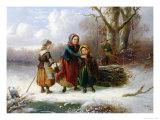 Three Girls in a Winter Landscape, 1865 Giclee Print by Alexis De Leeuw