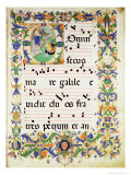Page of Choral Music with Historiated Initial &quot;O&quot; Depicting the Calling of St. Peter and St. Andrew Giclee Print by Zanobi Di Benedetto Strozzi