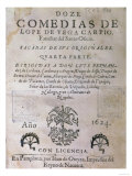 "Title Page of ""Twelve Comedies"" by Lope Felix de Vega Carpio Pub. 1624 Giclee Print"