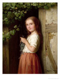 Young Girl Standing in a Doorway Knitting, 1863 Giclee Print by Johann Georg Meyer von Bremen