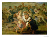 The Kermesse, Detail of Peasants Dancing, circa 1635-38 Giclee Print by Peter Paul Rubens
