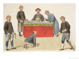 "A Culprit Before a Magistrate, Plate 1 from ""The Punishments of China"", 1804 Giclee Print by Major George Henry Mason"
