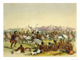 "Zulu Hunting Dance Near the Engooi Mountains, Plate 14 from ""The Kafirs Illustrated"", 1849 Giclee Print by George French Angas"