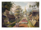 "The Principal Approach to the Great Dagon Pagoda at Rangoon, Plate 3 from ""Rangoon Views"" Giclee Print by Joseph Moore"